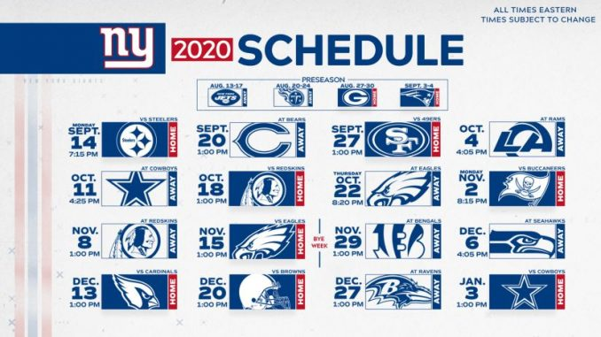 New York Giants Schedule
